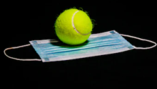 Tennis ball on a facemask